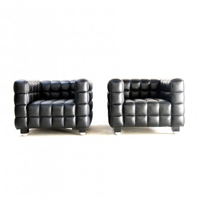 Pair of Kubus lounge chairs by Josef Hoffmann for Wittmann, 1980s