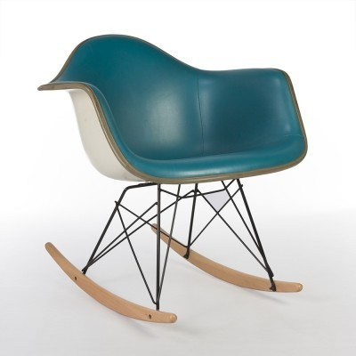 Turquoise Herman Miller Original Eames Upholstered RAR Rocking Arm Chair