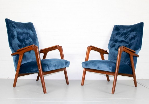 Vintage danish style lounge wingback chairs, 1960s