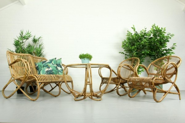 Vintage 60s Living Room Set in Rattan