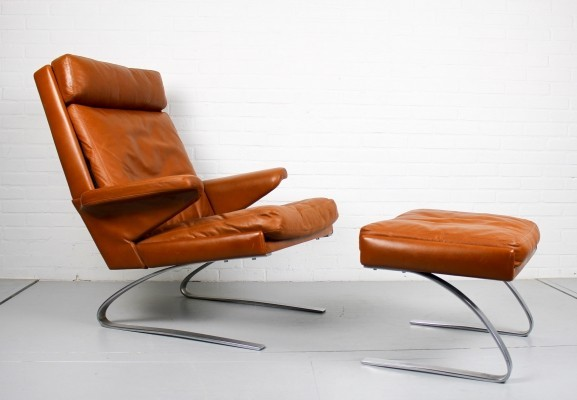 Leather COR Swing chair with foot stool by Reinhold Adolf, 1960s