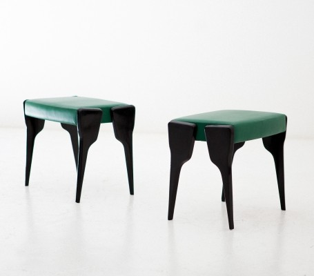 Pair of Italian stools with black mahogany legs & natural Leather, 1950s