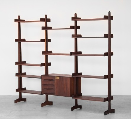 Wall console in rosewood by Vittorio Dassi, Italy 1950's