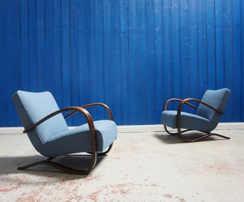 Pair of H-269 Armchairs by Jindrich Halabala for Thonet, 1930s