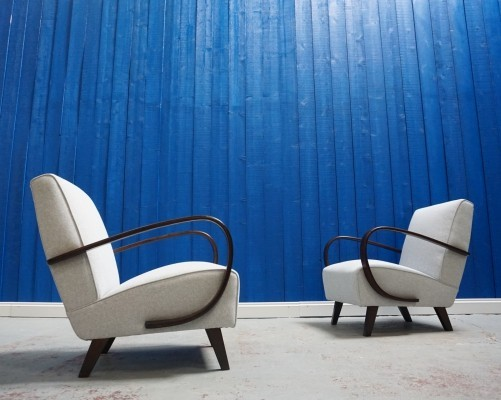 Pair of Jindrich Halabala Bentwood Armchairs in Light Grey by Thonet, 1930s
