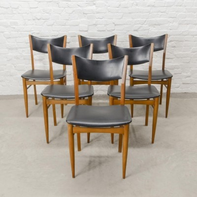 Set of Six Wooden Dining Chairs with Black Leatherette Backrest & Seating, 1960s