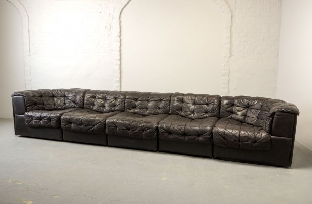 Mid-Century Patched Brown Leather 5 Elements Modular 'DS11' Sofa by De Sede, 1970s