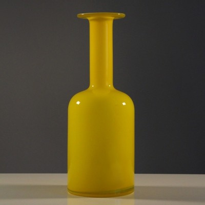 Yellow Gul vase by Otto Brauer for Holmegaard, Denmark