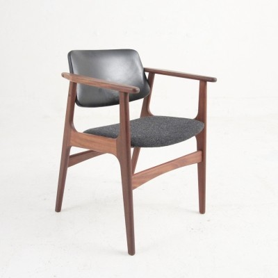 Arm chair in rosewood with skai & Kvadrat wool