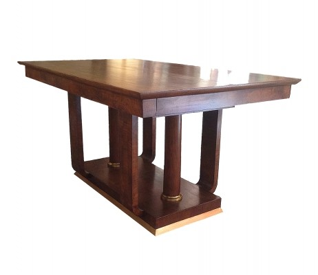 Art Deco Table in Walnut Wood & Brass, 1930s