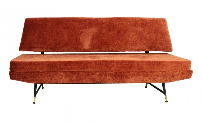 Three-Seat Velvet Sofa With Brass Feet