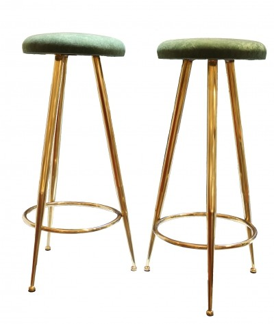 Pair of High Stools With Green Velvet Seats & Brass Legs