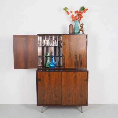 Danish design rosewood bar cabinet with mirrored glass, 1960's