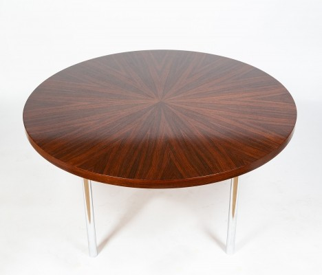 Sixties Dining table in rosewood & chromed steel tube