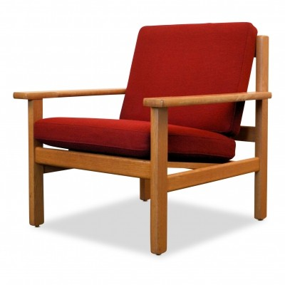 Vintage Hans J. Wegner oak laquer lounge chair