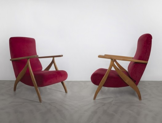 Pair of Italian High Back Armchairs, 1950s