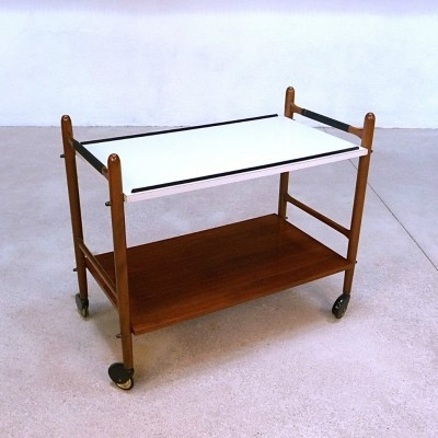 German Laminated Wood Serving Trolley with Brass Wheels, 1960s