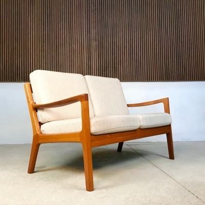 Senator Teak & Wool Two-Seater Sofa by Ole Wanscher for France & Son, 1960s