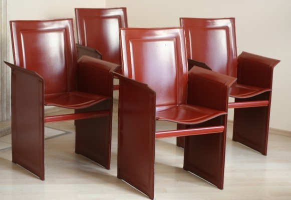 Set of 4 Leather Arm Chairs by Tito Agnoli, Italy 1990s