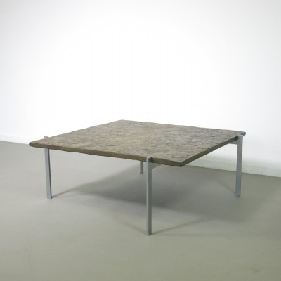 Patinated ocre slate PK 61 coffee table by Poul Kjærholm for E. Kold Christensen