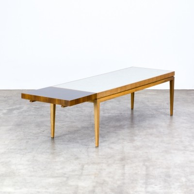 70s Wooden extendable coffee table with ceramic tiles