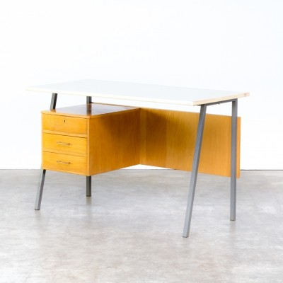 70s metal & wood writing desk with formica top
