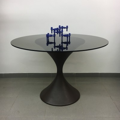 Vintage round glass table with diabolo shape foot, 1970's