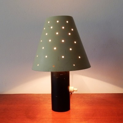Small vintage metal table lamp with a heavy base & perforated shade, 50's/60's