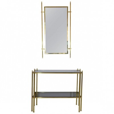 20th Century Brass Console & Mirror, 1970's