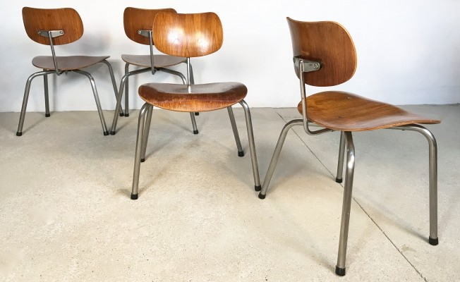 Set of 4 'SE68' Plywood Dining Chairs by Egon Eiermann for Wilde+Spieth, 1950s