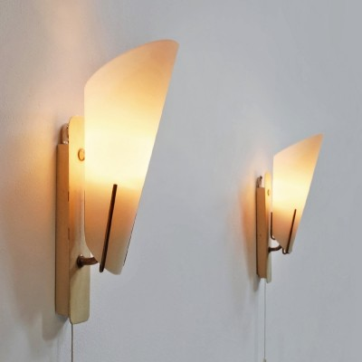 2 elegant 1950s wall sconces with opal glass hoods