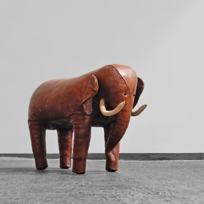 Leather Elephant foot stool by Dimitri Omersa for Abercrombie & Fitch, UK 1960