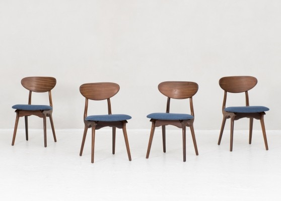 4 dining chairs by Louis Van Teeffelen for Wébé, Dutch Design 1950s