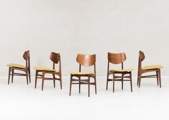 5 dining chairs by Louis Van Teeffelen for Wébé, Dutch Design 1950s