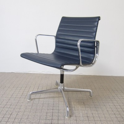 Blue vinyl EA 108 alu chair by Charles & Ray Eames for Herman Miller