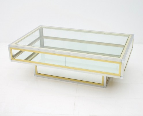 Coffee Table in Chrome, Brass & Glass, France 1970s