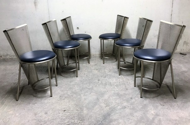 Set of 6 Vintage dining chairs by Frans Van Praet for Belgo Chrom, 1990s