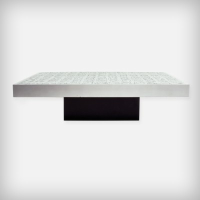 Huge German Brutalist Etched Zinc Coffee Table by Bernhard Rohne, 1966