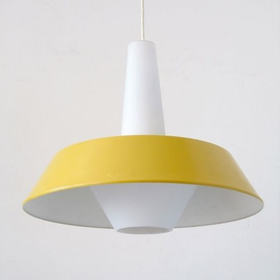 Large yellow Louis Kalff for Philips pendant lamp, 1960s