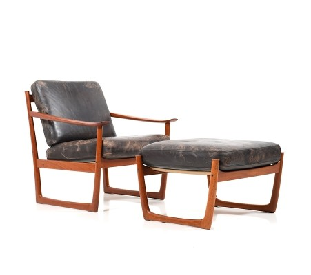 Danish Lounge Chair & Ottoman by Peter Hvidt & Orla Mølgaard-Nielsen