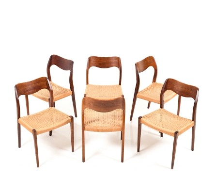 Set of 6 Dining Chairs Model No.71 by N.O.Moller, early 1960s