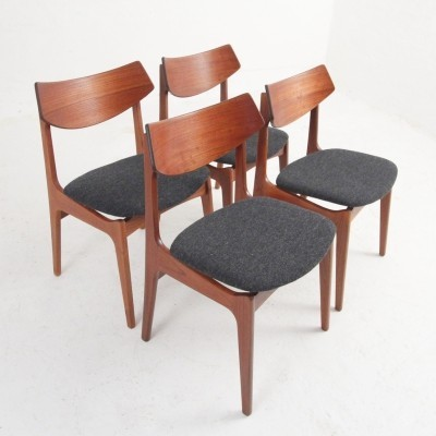 Four dining chairs in teak by Funder-Smith & Madsen