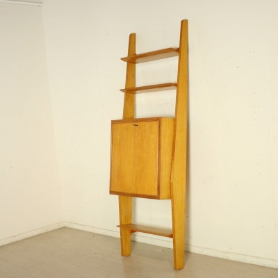 Wall-Mounted Veneered Wooden Bookcase, 1950s-60s