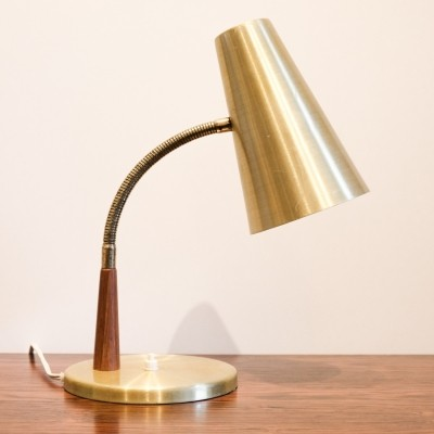 Danish table lamp in brass colour & teak, 1960s