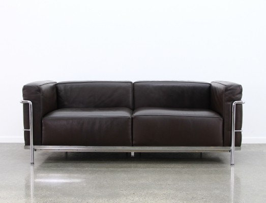 2 x LC3 Grand comfort sofa by Le Corbusier & Charlotte Perriand for Cassina, 1990s