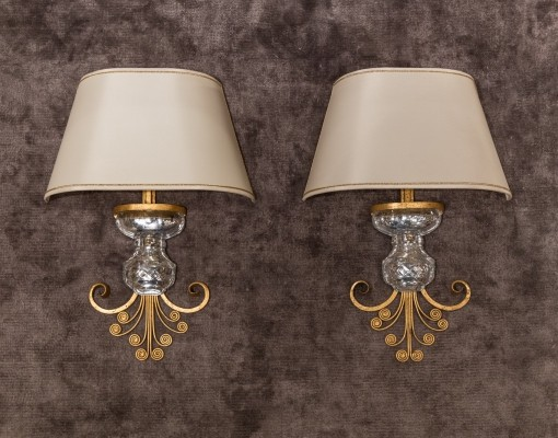 Set of two wall lamps from Maison Baguès, 1950s