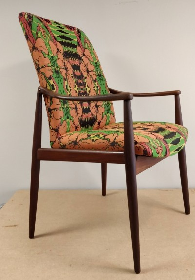 Arm chair by Hartmut Lohmeyer for Wilkhahn with Christie van der Haak fabric upholstery