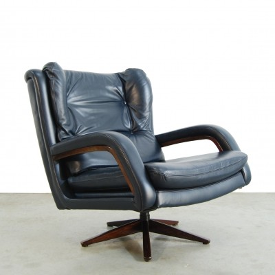 Tough leather swivel armchair, 1960s