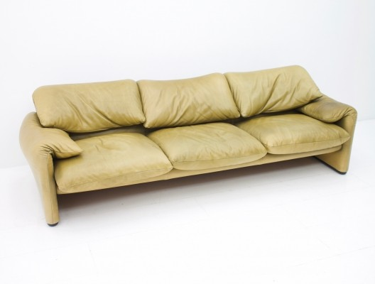 Vico Magistretti Maralunga Three Seater Leather Sofa
