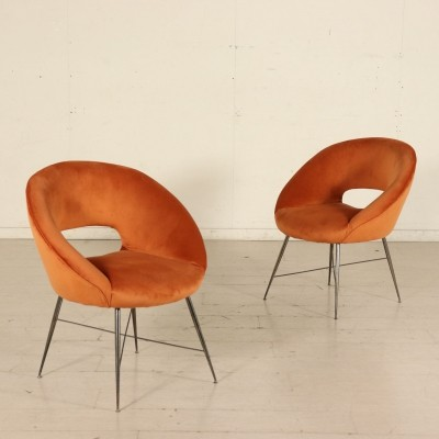 Pair of Orange Armchairs by Silvio Cavatorta, 1960s